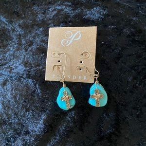 Turquoise with Gold Cross Earrings